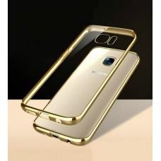 Чехол силиконовый прозрачный с глянцевой окантовкой Gold для Samsung Galaxy S7