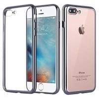 Чехол силиконовый прозрачный с окантовкой Silver для iPhone 7 plus/8 plus