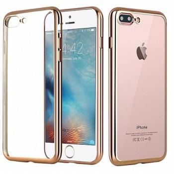 Чехол силиконовый прозрачный с окантовкой Gold для iPhone 7 plus /8 plus