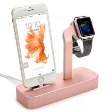 Докстанция Coteetci  Base 5 Rose Gold для Iphone/Apple Watch