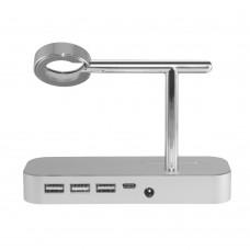 Докстанция COTEETCI Base Hub B18 c 3 USB/Type-C Silver для Iphone/Apple Watch