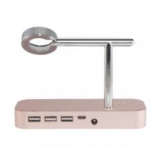 Докстанция COTEETCI Base Hub B18 c 3 USB/Type-C Rose Gold для Iphone/Apple Watch