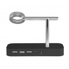 Докстанция COTEETCI Base Hub B18 c 3 USB/Type-C Black для Iphone/Apple Watch