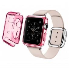Чехол пластиковый TPU case Clear Solid Red для Apple Watch 38 mm