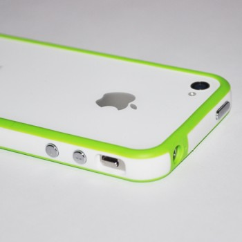 Бампер пластиковый Silicone Bumper with metal buttons LIGHT GREEN WHITE для iPhone 4/4S