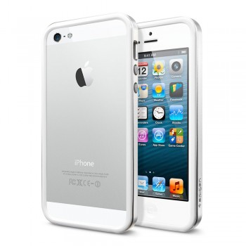 Бампер металлический SGP Case Neo Hybrid EX Slim Metal Series SATIN SILVER для iPhone 5/5S