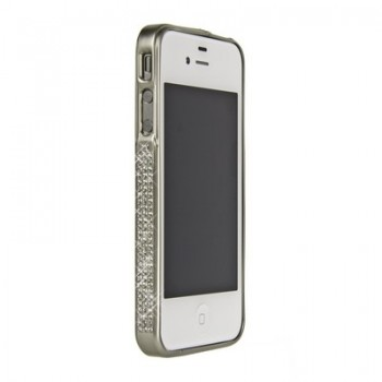 Бампер металлический Metal Bumper with Swarovski Crystal SILVER для iPhone 4/4S
