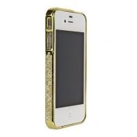 Бампер металлический Metal Bumper with Swarovski Crystal GOLD для iPhone 4/4S