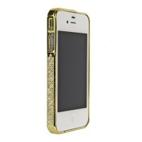 Бампер металлический Metal Bumper with Swarovski Crystal GOLD для iPhone 4/4S