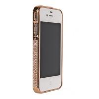 Бампер металлический Metal Bumper with Swarovski Crystal BRONZE для iPhone 4/4S