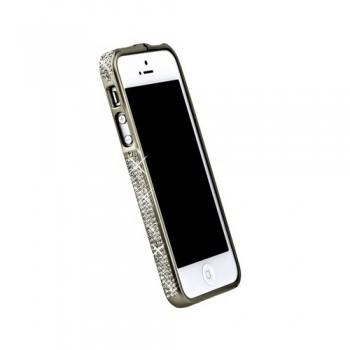 Бампер металлический Metal Bumper with Swarovski Crystal BIEGE для iPhone 5/5S