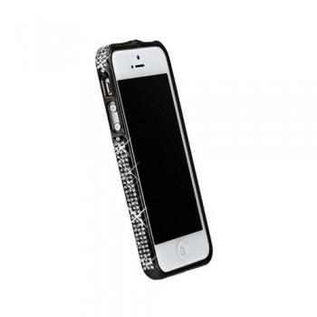 Бампер металлический Metal Bumper with Swarovski Crystal BLACK для iPhone 5/5S