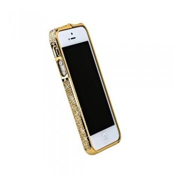 Бампер металлический Metal Bumper with Swarovski Crystal GOLD для iPhone 5/5S