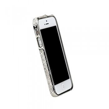 Бампер металлический Metal Bumper with Swarovski Crystal SILVER для iPhone 5/5S
