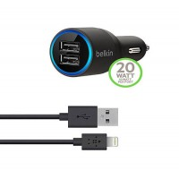 Автозарядка Belkin 2Port Car Charger Black With Cable Lightning 10 Watt/ 2.1 Amp