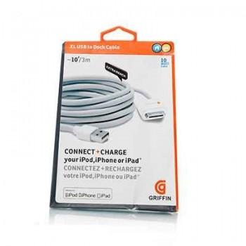 Кабель GRIFFIN 30-pin USB Cable 3m White для iPhone/iPad