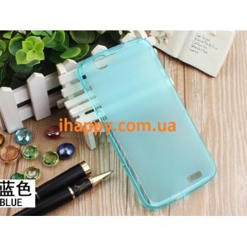 Чехол силиконовый полупрозрачный Silicone TPU Matte Gloss Blue для Huawei G7