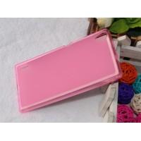 Чехол силиконовый полупрозрачный Silicone TPU Matte Gloss Pink для Huawei P7