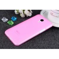 Чехол силиконовый полупрозрачный Silicone TPU Matte Gloss Pink для Meizu M2 Note