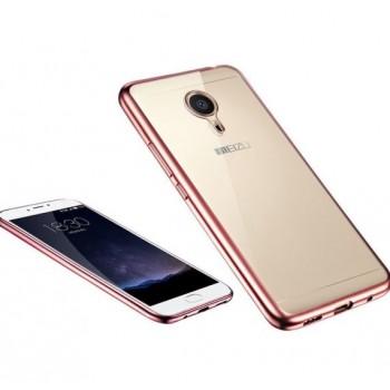 Чехол силиконовый прозрачный с цветной окантовкой Pink для Meizu M3 Note