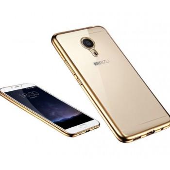 Чехол силиконовый прозрачный с цветной окантовкой Gold для Meizu M3 Note