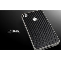 Чехол пластиковый Spigen Skin Guard Set Series CARBON BLACK для iPhone 4/4S