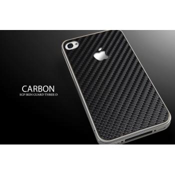 Чехол пластиковый Spigen Skin Guard Set Series CARBON BLACK для iPhone 4/4S