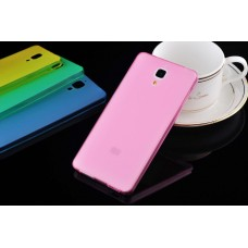 Чехол силиконовый полупрозрачный Silicone TPU Matte Gloss Pink для Xiaomi Mi4