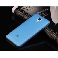 Чехол силиконовый полупрозрачный Silicone TPU Matte Gloss Blue для Xiaomi Mi4
