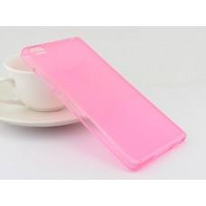 Чехол силиконовый полупрозрачный Silicone TPU Matte Gloss Pink для Xiaomi Mi5