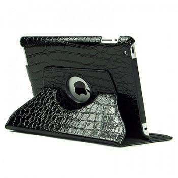 Чехол 360 Rotating Stand Leather CROCO Case Black для iPad 2