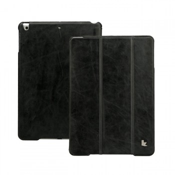 JisonCase Vintage Real Leather Smart Cover Case BLACK для iPad Air