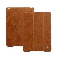 Чехол кожаный JisonCase Vintage Real Leather Smart Cover Case BROWN для iPad Air