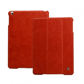 Чехол кожаный JisonCase Vintage Real Leather Smart Cover Case RED для iPad Air