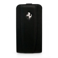 Чехол Ferrari Leather Flip Case BLACK для iPhone 4/4S