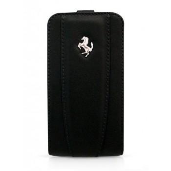 Чехол Ferrari Leather Flip Case BLACK для iPhone 4/4S