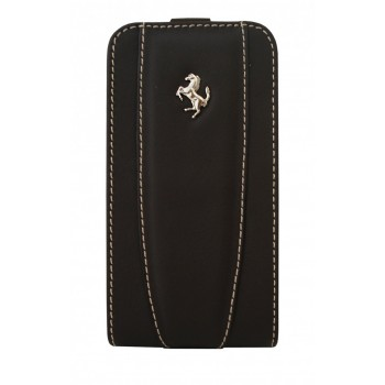 Чехол Ferrari Leather Flip Case BROWN для iPhone 4/4S