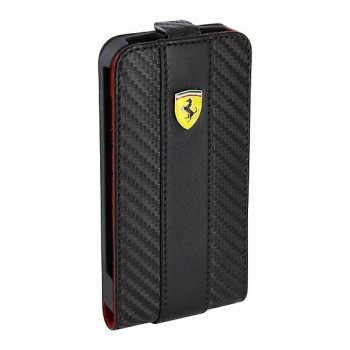 Чехол Ferrari Leather Flip Case CHALLANGE BLACK для iPhone 4/4S