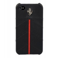 Чехол Ferrari California Leather Back Cover BLACK для iPhone 4/4S