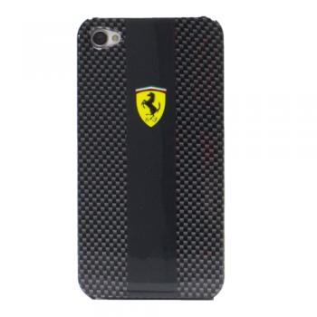Чехол пластиковый Ferrari Scuderia Carbon Effect Back Cover BLACK для iPhone 4/4S
