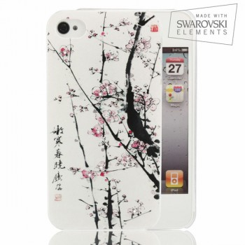 Чехол пластиковый FaceCase SWAROVSKI Sakura Tree для iPhone 4/4S