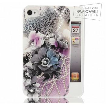 Чехол пластиковый FaceCase SWAROVSKI Vivid Flowers для iPhone 4/4S