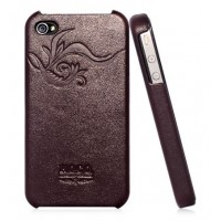 Чехол HOCO Earl Fashion Back Cover Leather Case BROWN для iPhone 4/4S