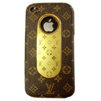 Чехол пластиковый KingPad Luxury Louis Vuitton Cover Case BROWN для iPhone 4/4S