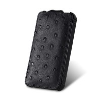 Чехол Melkco Leather Case Jacka Ostrich BLACK для iPhone 4/4S
