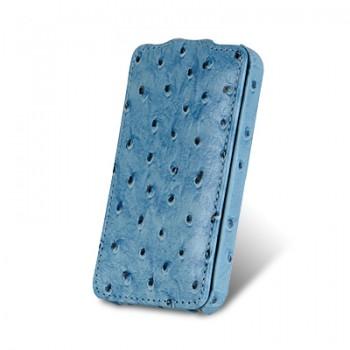 Чехол Melkco Leather Case Jacka Ostrich BLUE для iPhone 4/4S