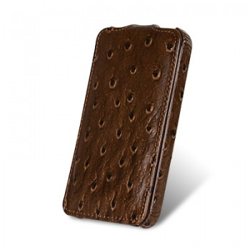 Чехол Melkco Leather Case Jacka Ostrich BROWN для iPhone 4/4S