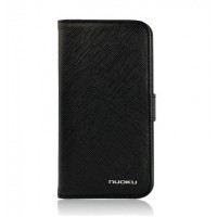 Чехол NUOKU BOOK Stylish Leather Case BLACK для iPhone 4/4S