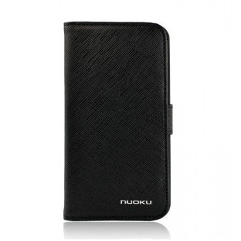 Чехол NUOKU BOOK Stylish Leather Case BLACK для iPhone 4/4S
