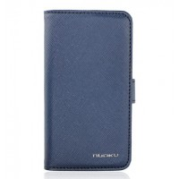 Чехол NUOKU BOOK Stylish Leather Case BLUE для iPhone 4/4S